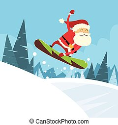 Santa Clause Snowboarder Sliding Down Hill, Merry Christmas...