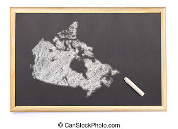 Blackboard with a chalk and the shape of Canada drawn onto....