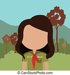Summer camping and travel cartoon design, vector...