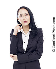studio portrait of asian businesswoman - studio portrait of...