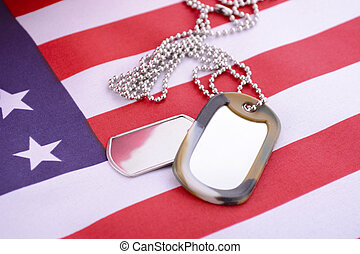Veterans Day USA Flag with dog tags - Veterans Day USA flag...
