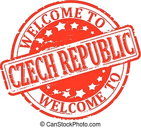 Scratched Seal welcome in the Czech - Damaged round red...
