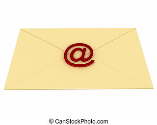 Envelope with e-mail sign over white