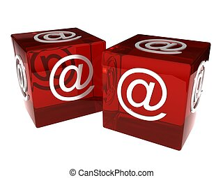 Two dices with e-mail sign over white