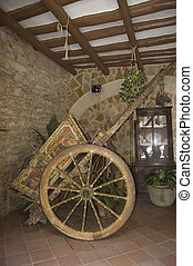 sicilian cart - coloured cart in a small sicilian village,...