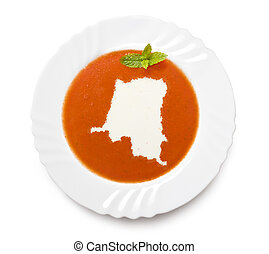 Plate tomato soup with cream in the shape of Zaire.(series)...