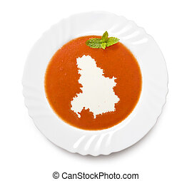 Plate tomato soup with cream in the shape of Serbia...