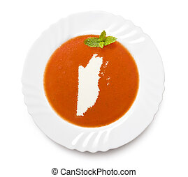 Plate tomato soup with cream in the shape of Belize.(series)...