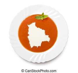 Plate tomato soup with cream in the shape of Boliviaseries -...