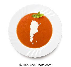 Plate tomato soup with cream in the shape of Argentinaseries...