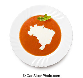 Plate tomato soup with cream in the shape of Brazil.(series)...