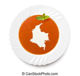 Plate tomato soup with cream in the shape of Colombiaseries...