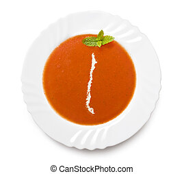 Plate tomato soup with cream in the shape of Chileseries - A...