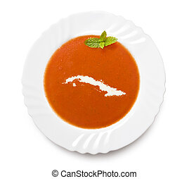 Plate tomato soup with cream in the shape of Cuba.(series) -...