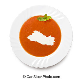 Plate tomato soup with cream in the shape of El...