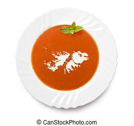 Plate tomato soup with cream in the shape of Falkland...