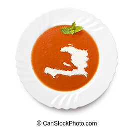 Plate tomato soup with cream in the shape of Haiti.(series)...