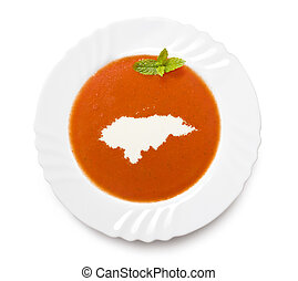Plate tomato soup with cream in the shape of Hondurasseries...
