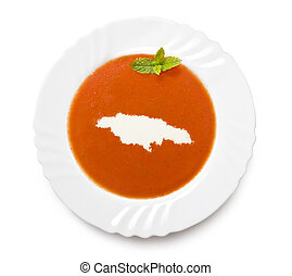 Plate tomato soup with cream in the shape of Jamaicaseries -...