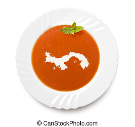 Plate tomato soup with cream in the shape of Panama.(series)...