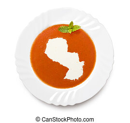 Plate tomato soup with cream in the shape of Paraguayseries...