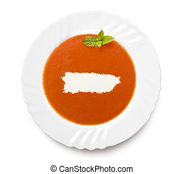 Plate tomato soup with cream in the shape of Puerto...