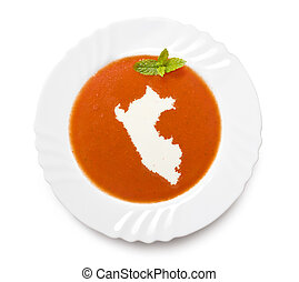 Plate tomato soup with cream in the shape of Peru.(series) -...