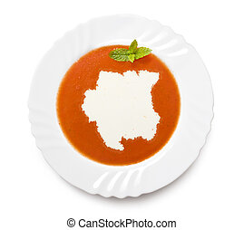 Plate tomato soup with cream in the shape of Surinameseries...