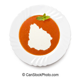 Plate tomato soup with cream in the shape of Uruguayseries -...