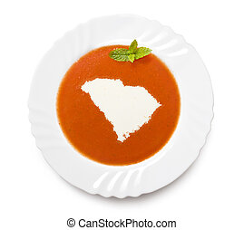 Plate tomato soup with cream in the shape of South...