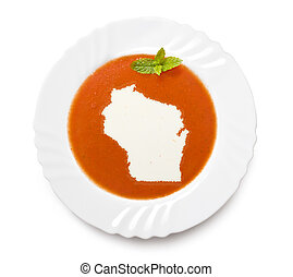 Plate tomato soup with cream in the shape of Wisconsin.(series)