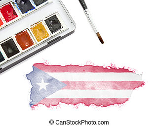 Watercolor painting of Puerto Rico in the national colors.(series)