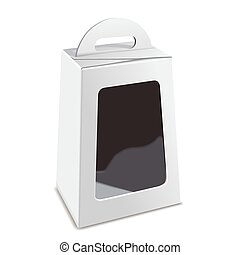blank white package box with plastic window isolated on...
