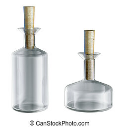 Empty chemical flasks with caps isolated on white 3d model