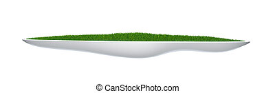 flower-bed with green grass isolated on white 3d model