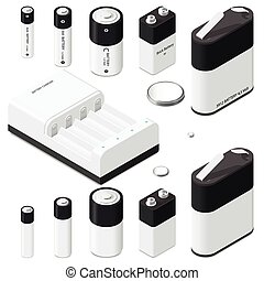 Battery and battery charger isometric icon set vector...