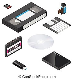 Storage media actual size proportions detailed isometric icon set