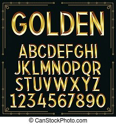 Vector Golden Embossed Font
