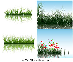 grass on water - Grass silhouettes backgrounds set with...