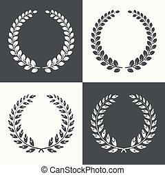 vector circular laurel wreath - Set of vector circular...