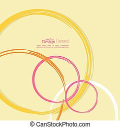 Abstract background with colored circles and curls. Template...
