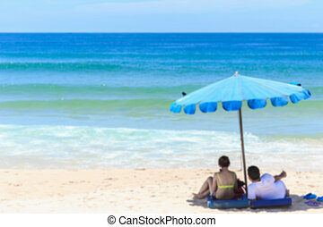 Blurred image : Tourist at Karon beach in phuket island,...