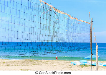 Volleyball net on the beach, Karon beach, Thailand - Old...