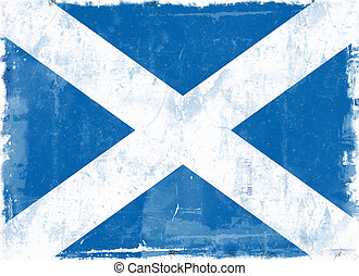 Flag of Scotland - Computer designed highly detailed grunge...