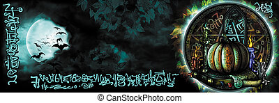 Halloween occult banner - Occult banner with a pentagram, a...