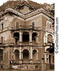 Hotel ruins in Herculane, Banat, Romania, Eastern Europa
