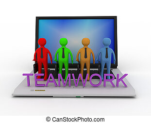 Teamwork concept, isolated on white 3d rendered illustration.