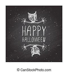 Happy halloween on chalkboard background.