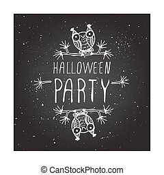 Halloween party on chalkboard background.