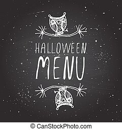 Halloween menu on chalkboard background.